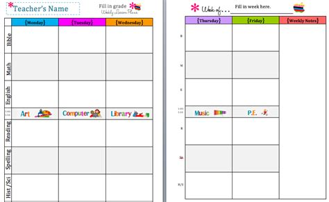 weekly lesson plan templates for teachers 7 best images of schedule template printable