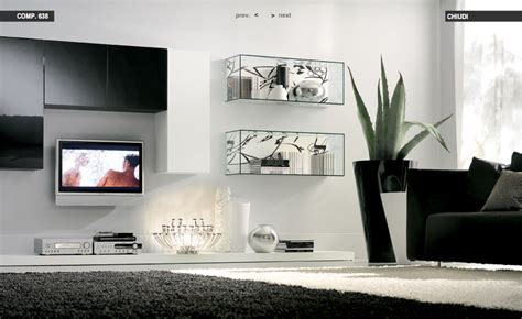 glass shelves white living room with black rug