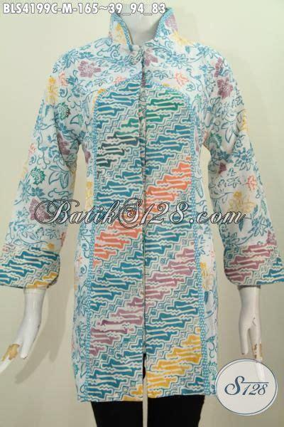 Jaket Bunga Kancing 3242 blus batik parang bunga model terbaru kerah shanghai