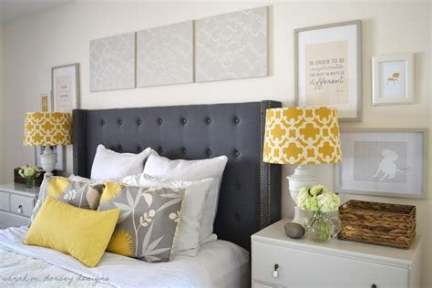 Diy Tufted Headboard With Wings And Nailhead Trim Gray And Yellow Bedroom Decor