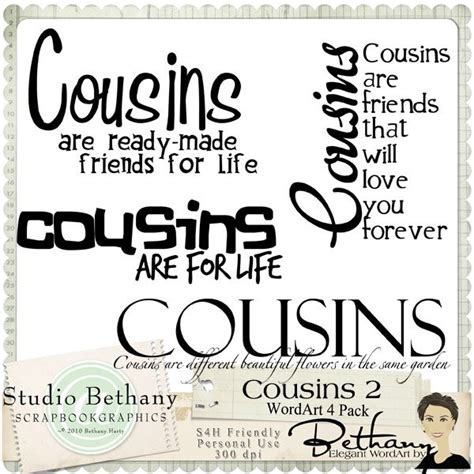 Printable Cousin Quotes   cousins 2 wordart pack by bethany scrapbooking stuff i