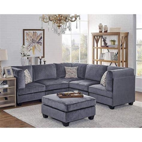 shop zelmira gray velvet pc modular sectional sofa