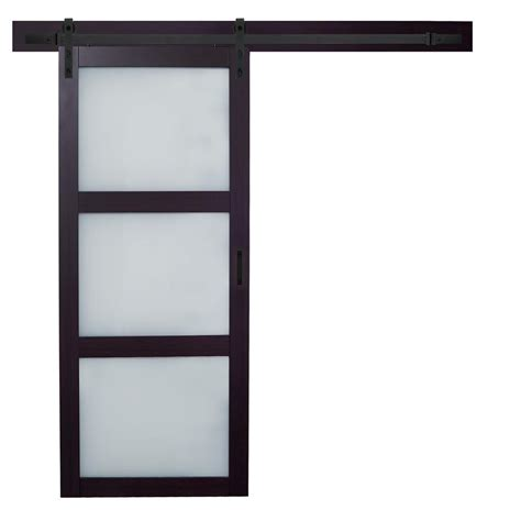 frosted glass interior doors home depot truporte 36 in x 84 in espresso mdf 3 lite white frosted
