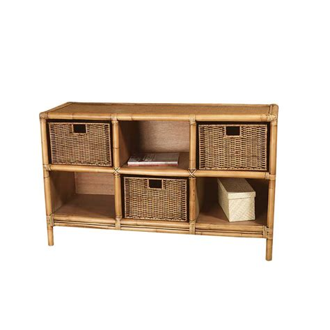 bookcase end table with 2 rattan peel baskets padmas