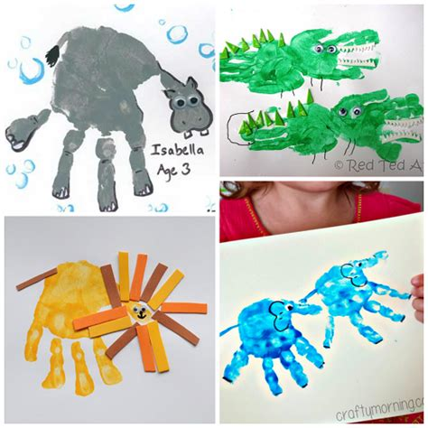 zoo animal handprint crafts for crafty morning