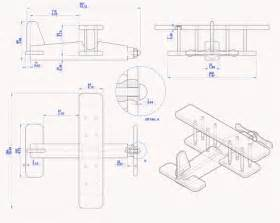 Biplane kids toy plan assembly 2d drawing