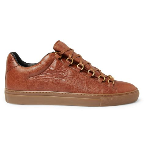 leather sneakers balenciaga arena creased leather sneakers in brown for