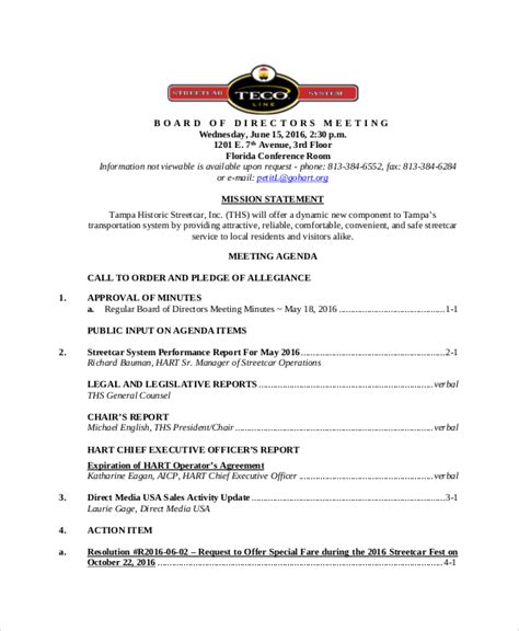 board of directors meeting agenda template 12 board of directors meeting agenda templates free sle exle format free