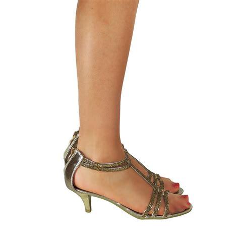 Low Wedding Heels by Womens Low Kitten Heel Strappy Sandals Prom