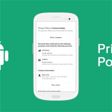 Privacy Policy For Android Apps Template And Guide Android App Privacy Policy Template