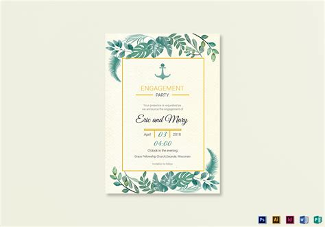 Nautical Engagement Announcement Card Template In Psd Word Publisher Illustrator Indesign Engagement Card Template