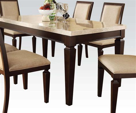 Dining Tables With Marble Tops Acme Agatha White Marble Top Rectangular Dining Table In Espresso 70480