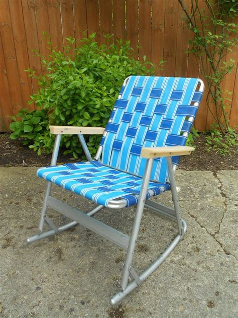 aluminum web folding chairs vintage webbed tubular aluminum rocker rocking lawn chair