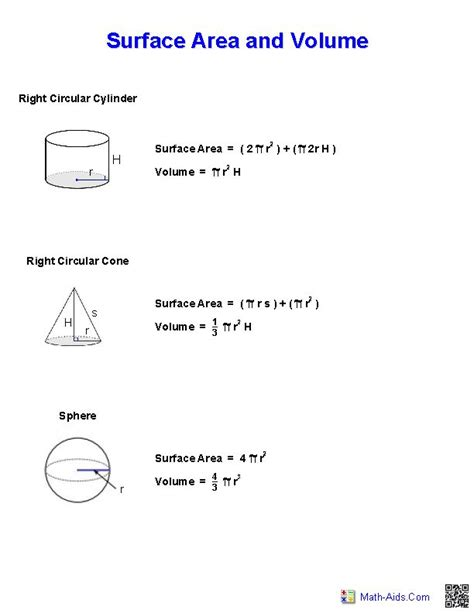 Surface Area And Volume Worksheet by 17 Images About Math Aids On Equation