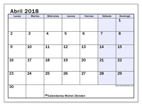 Calendario Abril 2018 Calendario Para Imprimir Abril 2018 Auxilius Espa 241 A