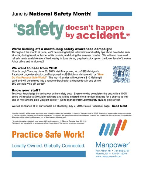 It's National Safety Month! Stay Safe. Earn Great Prizes ... $50 Visa Gift Card Png