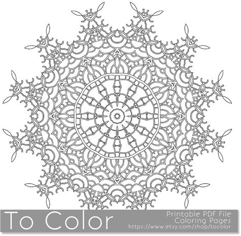 printable coloring pages for adults mandala snowflake etsy