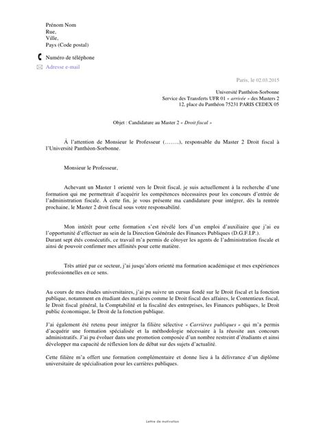 Exemple De Lettre De Motivation Pour Un Master Modele Lettre De Motivation Pour Master 1 Document