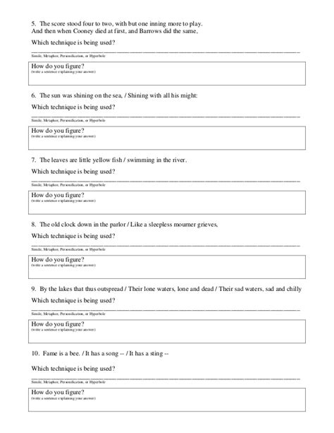 common figurative language 5th grade worksheets