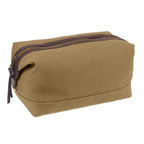 Toiletry Bag brown dopp canvas leather executive travel toiletry kit bag