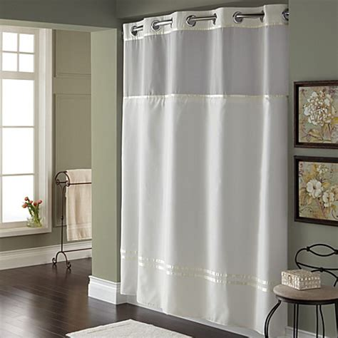 hookless escape      fabric shower curtain