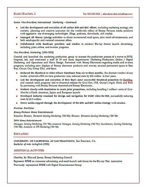 strategic marketing executive resume exle