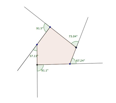 Pentagon Interior Angles by Exterior Angles Of A Concave Polygon Tutorial Learning