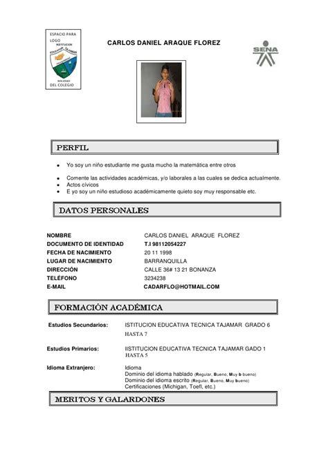 hoja de vida de 2016 del ministerio de trabajo en colombia modelo hoja vida 2012 1 sena 1