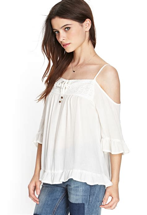 21 Best Images About forever 21 open shoulder peasant top in white lyst
