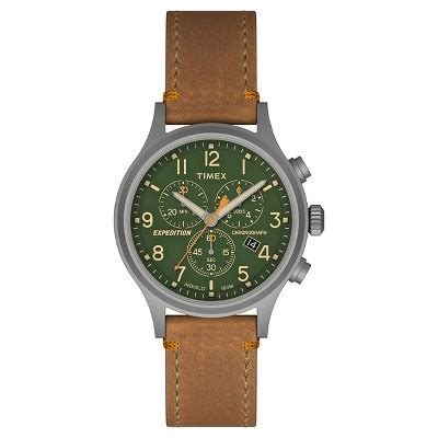 Expedition E6674 Black Leather Green s timex expedition 174 scout chronograph with leather gray green tw4b044009j
