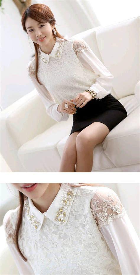 C058 Kemeja Blouse Sifon Putih Lengan Panjang kemeja putih wanita lengan panjang brokat model terbaru jual murah import kerja