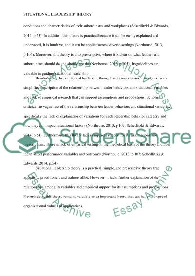 Leadership Theories Essay by Pros And Cons Of Situational Leadership Theory Essay