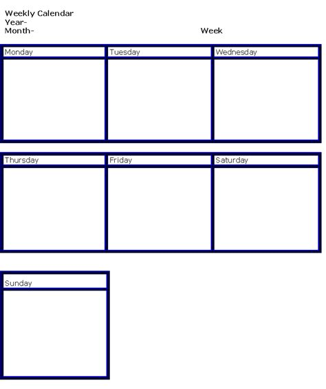 weekly schedule template for new calendar template site