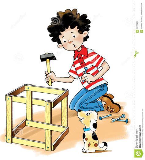 puppy hammer carpenter joiner boy puppy hammer stock illustration illustration 61226425