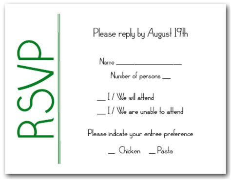Reply Invitation Letter Birthday Green On White Rsvp Cards Reply Cards Response Cards