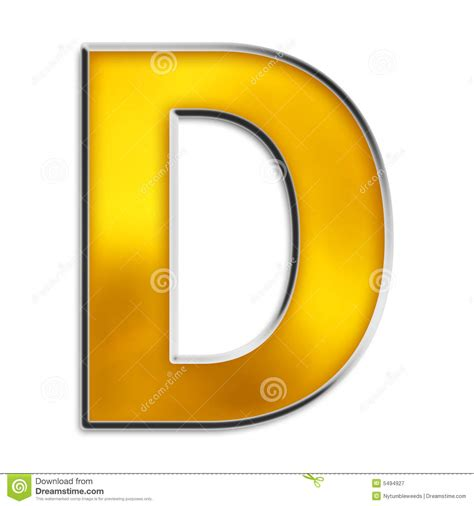 The D A isolated letter d in shiny gold stock illustration image