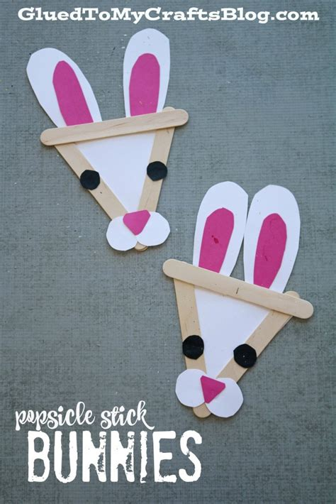 popsicle stick kid crafts popsicle stick bunny kid craft glued to my crafts