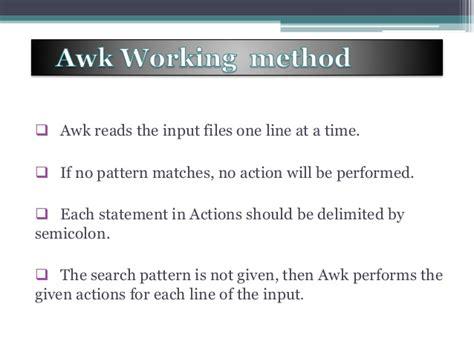 awk pattern variables presentation of awk