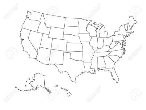 white map of usa us map black and white vector geography outline map states