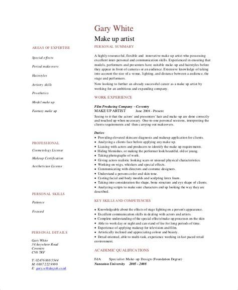 mac makeup artist resume samples template free templates freelance