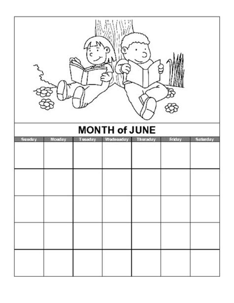 education world june calendar template kids calendar coloring pages  kids preschool calendar
