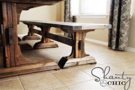 how to build a farmhouse table and bench ana white triple pedestal farmhouse bench diy projects