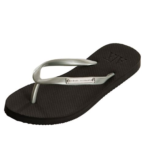 armani exchange slippers armani exchange logo plate flip flop silver armani shoes