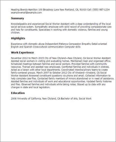 Social Services Resume Exles by Social Worker Assistant Resume Template Best Design Tips Myperfectresume