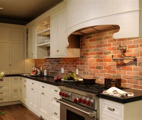 brick backsplash in kitchen brick backsplash white cabinet wood floor dark not