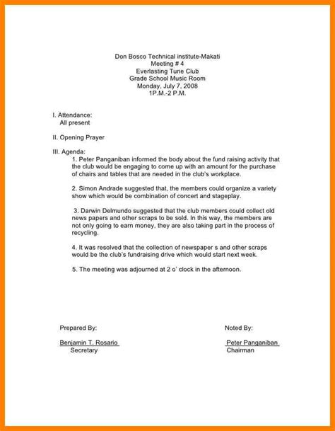 exles of minutes of a meeting template 8 exle of meeting minutes lease template