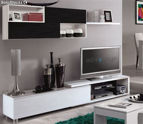 mueble modular tv completo de salon comedor color blanco