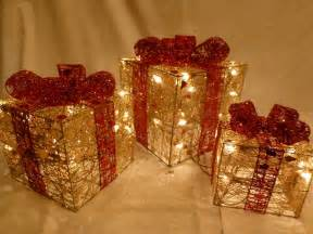 indoor set small gold red parcel light up christmas