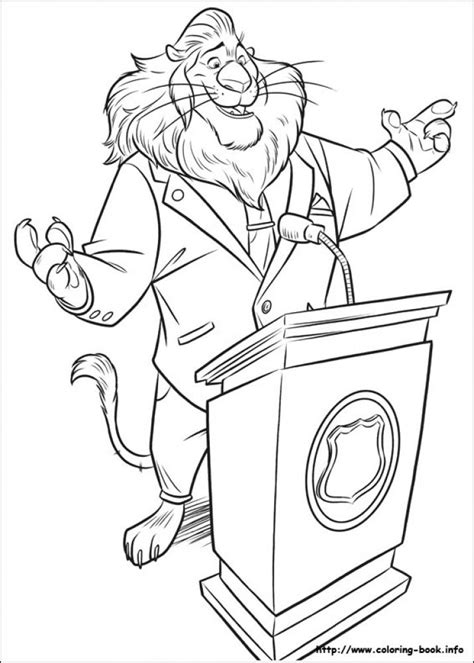 coloring page of zootopia mayor lionheart giving speech in printable disney zootopia