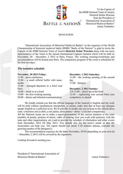 Offizieller Brief Einladung Referenzen Vollkontaktkf